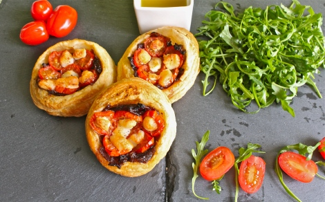 Caramelised onion and tomkin galettes